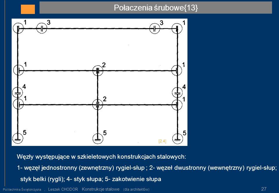 Połaczenia śrubowe{13} [2.4] Węzły występujące w szkieletowych konstrukcjach stalowych: